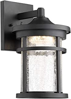 Emliviar Outdoor Wall Lantern LED with Crackle Glass in Black Finish, 9W LED 600 Lumens, 3000K Warm White, 2085B BK