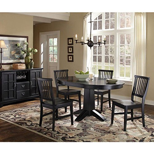 - Home Style 5181-30 Arts and Crafts Round Dining Table, Black Finish