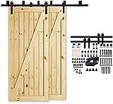 5FT/152cm Schiebetürbeschlag Set, Laufschienen für Schiebetüren Hängeschiene Schiebetürsystem Laufschiene Tür Hardware Bypass Kit, Sliding Door Hardware Bypass 2 Doors