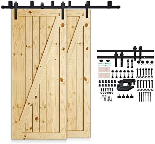 CCJH 152cm(5FT) Kit de guía para puerta corredera Bypass Ferretería Polea de Rail suspendida sistema de puerta interiores en madera granero armario cuarto de, negro