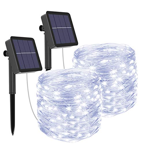 Kolpop Solar String Lights, [2 Pack] 40ft 120 LED Solar led Lights Outdoor 8 Modes Waterproof Solar Christmas Lights Outdoor Indoor Decoration for Wedding, Garden, Home, Patio, Party (Cold White)