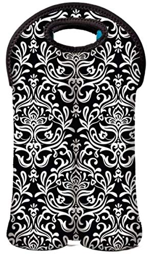 BUILT NY 2-Bottle Insulated Neoprene Wine/Water Bottle Reusabe Tote (Black and White Damask)