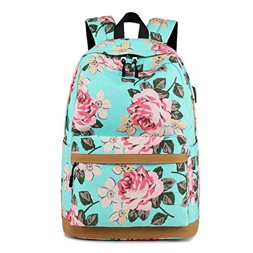 Neuleben Rucksack Schulrucksack mit Blumenmuster USB Ladeport für Damen Mädchen Rucksäcke Daypack Schultasche Schulranzen (Grün)