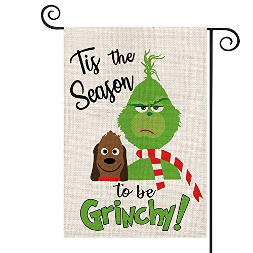 AVOIN Tis The Season to Be Grinch Garden Flag Vertical Double Sized, Christmas Winter Holiday Party Yard Outdoor Decoration 12.5 x 18 Inch