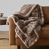 Amazon Basics Fuzzy Faux Fur Sherpa Throw Blanket, 50'x60' - Brown Tie Dye