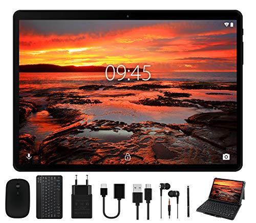 Tablet 10 Pollici - Android 9.0 Pie GOODTEL Tablets 4 GB RAM + 64 GB ROM, WiFi / Dual SIM / GPS / 8000 mAh Batteria / Doppia Fotocamera / Bluetooth / Type-C, con Tastiera Bluetooth e Mouse