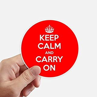 DIYthinker Quote Keep Calm and Carry On Red Round Stickers 10cm Wall Suitcase Laptop Motobike Decal 8pcs diameter 4 inch(10cm)