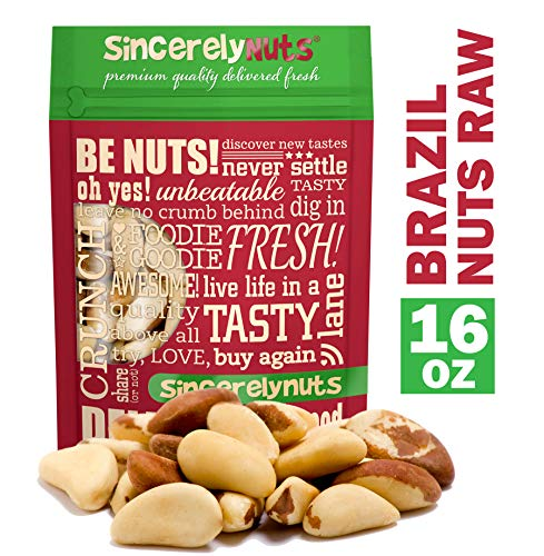 Sincerely Nuts Raw Brazil Nuts No Shell (1Lb Bag)   Premium Healthy Snack Food   Whole, Kosher, Vegan, Gluten Free   Keto & Paleo Diety Friendly   Gourmet Snack   Source of Vitamins & Minerals