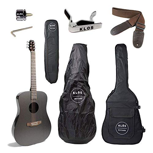 KLOS Guitars Carbon-Faser-Full Size Acoustic E-Gitarre Paket (Gitarre, Gig Bag, Riemen, Capo, und mehr)