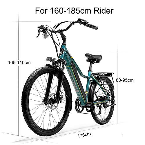 LANKELEISI Pard3.0 26 Inch Electric bicycle, 300W City Bike, Oil SpringSuspension Fork, Pedal Assist Bicycle, Long Endurance (Green, 10.4Ah)