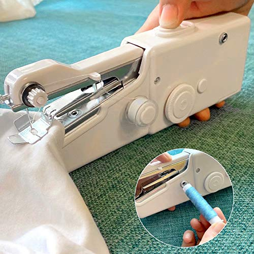 Stywvoe Portable Sewing Machine, Mini Sewing Professional Cordless Sewing Handheld Electric Household Tool - Quick Stitch Tool for Fabric, Clothing, or Kids Cloth Home Travel Use-white113-1