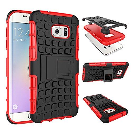 pinlu Funda para Samsung Galaxy S7 Edge Smartphone Doble Capa Híbrida Armadura Silicona TPU + PC Armor Heavy Duty Case Duradero Protección Neumáticos Patrón Rojo