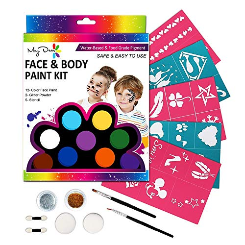 Maydear Face Painting Kit for Kids with Safe and None Toxic Water Based 12 Color Palette (X-Large) with 30 Stencils & 2 Brushes