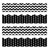 Black Bulletin Borders Stickers, 80 ft Back-to-School Decoration Borders for Bulletin Board/Black Board/Chalkboard/Whiteboard Trim, Teacher/Student Use for Classroom/School Decoration, 2 Set