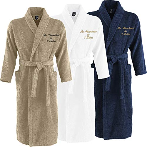 Nashville print factory Sol´s Palace Bademantel Morgenmantel Bestickt mit Ihrem Wunschtext/Name | Wunschstickerei | ideal für Hotels | Sauna | zu Hause (L/XL, Navy)