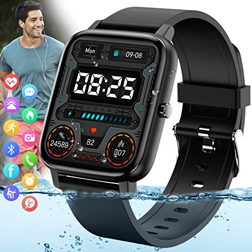 """Amokeoo Smart Watch,Fitness Watch Activity Trackers with Heart Rate Blood Pressure Monitor IP67 Waterproof Bluetooth Smartwatch 1.69"""" Large ScreenSmart Watches for Android iOS Phones Men Women Black"""