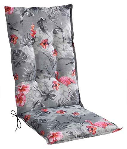 Sesselauflage Sitzpolster Gartenstuhlauflage für Hochlehner | 50 cm x 120 cm | Grau | Flamingomotiv | Baumwolle | Polyester