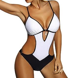 NINGNETI Una Pieza De Mujer con Cuello En V Bikini Monokini Traje De Ba/ñO Traje De Ba/ñO Ropa De Playa De Ba/ñO