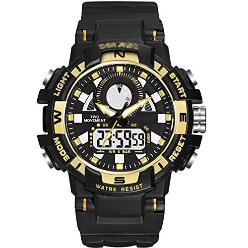 WNGJ Reloj Deportivo, Moda Moda Moda Simple Reloj Electrónico Luminoso DIAL DIAL PEQUEÑO, Reloj Deportivo Impermeable Multifuncional, Empaquetado Exquisito Gratis Gold