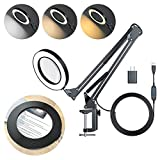 LED Magnifying Desk Lamp with Adapter, 5X Magnifying Glass with Light, 3 Light Colors, 10 Brightness Level, Handsfree Magnifier Lamp with Adjustable Arm and Clamp Stand for Craft, Reading, Hobbies