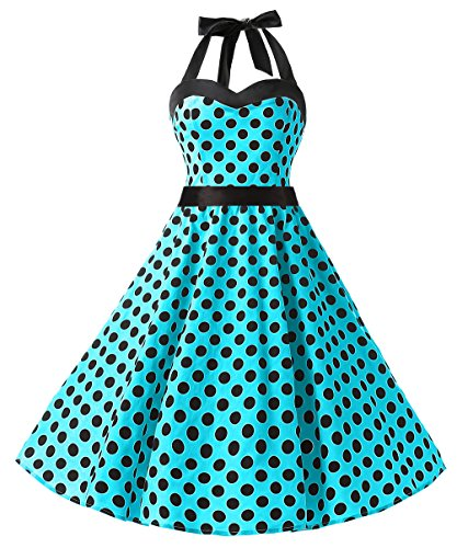 DRESSTELLS Neckholder Rockabilly 1950er Polka Dots Punkte Vintage Retro Cocktailkleid Petticoat Faltenrock Blue Black Dot 3XL