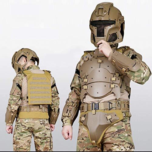 POEO Taktische Weste Molle Set, Herren Taktische Rüstung Elbogenschützer für Paintball Airsoft Nerf Outdoor, Ellenbogenschützer Taillensiegel Einstellbar
