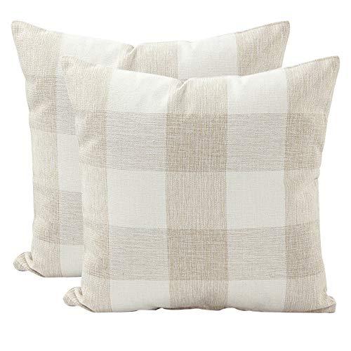 JOTOM Fodera per cuscino in lino,Fodere per Cuscini decorative per divano da casa,45 x 45 cm,set di 2 (A scacchi | Beige bianco)
