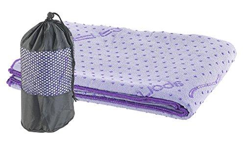 PEARL sports Yogatuch: 2in1-Mikrofaser-Yoga-Handtuch & Auflage, saugfähig, rutschfest, lila (Fitnessmatte)