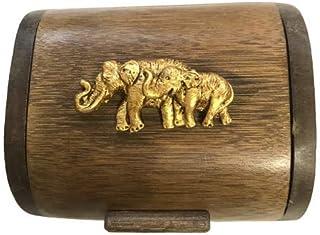 Golden789Shop Thai Handmade Premium Quality Trinket Box With Resin Gold 2 Elephants Vintage Bamboo Wooden Jewelry Keepsake...
