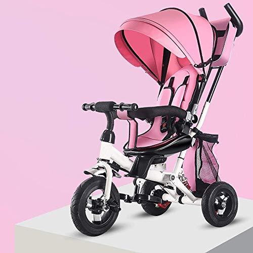 WLD Trainingsfiets Trike Kinderen driewielers 4 in 1 Kinderen Fiets Baby Kinderwagen Kids driewieler Draagbare Reclining Indoor en Outdoor Combinatie 3 Kleuren Opties roze