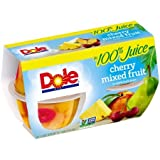DOLE FRUIT BOWLS  Cherry Mixed Fruit in 100% Fruit Juice, 4 Ounce, 4 Count (Pack of 6)