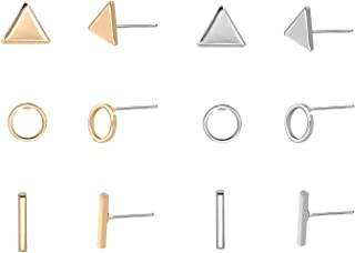 Women's Simple Geometric Triangle Circel Bar Stud Earrings Pack of 6 Gold & Silver