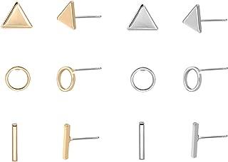 Zealmer Women's Simple Geometric Triangle Circel Bar Stud Earrings Pack of 6 Gold & Silver