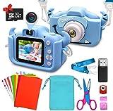 ShengRuHai Cámara para niños, cámara digital para niños con función de carga USB, equipada con tarjeta de memoria de 32 GB, ideal como regalo para niños en Navidad (azul)