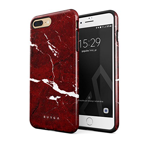 BURGA Phone Case Compatible with iPhone 7 Plus / 8 Plus - Iconic Ruby Red Marble Cute Case for Women Heavy Duty Shockproof Dual Layer Hard Shell + Silicone Protective Cover