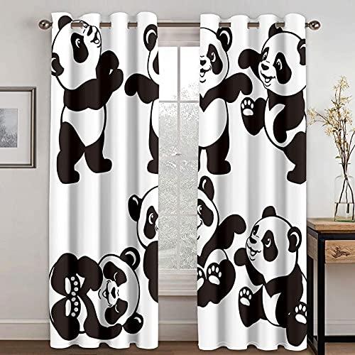 HAOGG 2 Pezzi Tende Oscuranti 3D Bianco E Nero Animali Panda 2 X 132X240Cm Termiche Isolanti Con Occhielli Per Camera Da Letto Tende Coprenti Per Soggiorno Moderne Per Interni Finestra Salotto
