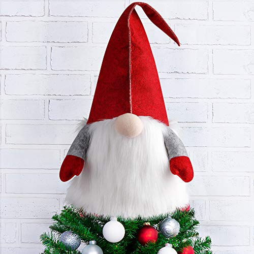 D-FantiX Gnome Christmas Tree Topper, 25 Inch Large Swedish Tomte Gnome Christmas Ornaments Santa Gnomes Plush Scandinavian Christmas Decorations Holiday Home Décor Red…