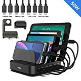 Charging Station, Vogek 5-Port 50W 10A USB Charging Station with 8 Short Mixed Cables Included Watch & Airpod Stand for Cell Phones, Smart Phones, Tablets, iWatch, Airpods Multiple Device-Black