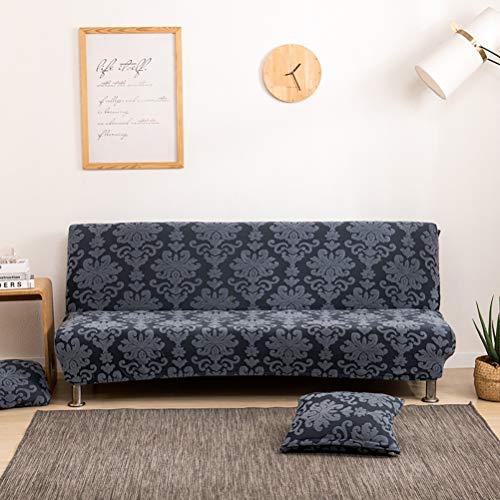 Fodera per divano pieghevole in tessuto jacquard elasticizzato con stampa damascata senza braccioli, per divano e divano spesso Futon, un pezzo di cuscino a T per letto e salotto, colore: grigio scuro
