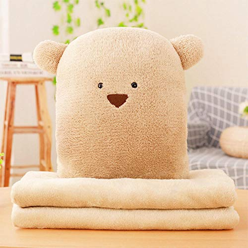 Cartoon anime plus velvet blanket sofa pillow quilt dual purpose square pillow@Brown bean bear_Three in one (with small blanket 0.8 * 1 m)