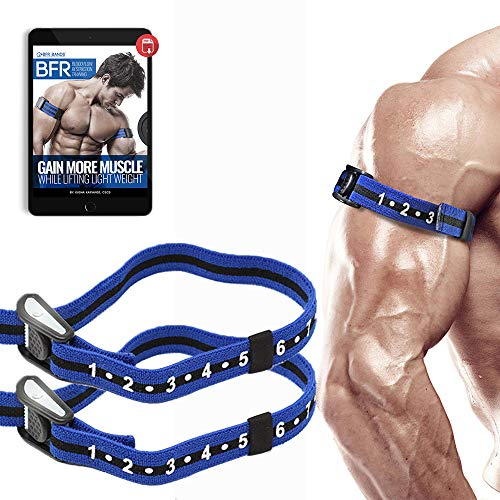 Occlusion Training Bands by BFR Bands PRO Slim Model, 2 Pack, Blood Flow Restriction Bands with 1