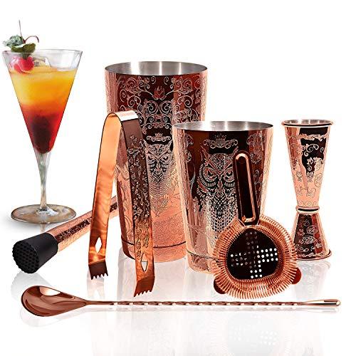 SKY FISH Set Shaker Per Cocktail - Kit Barista Per Cocktail in Rame Inciso in Confezione Regalo Da 7.