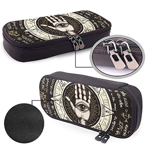 Federmäppchen mit Sprühfarbe, Graffiti-Gitarren, großes Fassungsvermögen, Leder, Federmäppchen, Schreibwarenbox, Aufbewahrungstasche Einheitsgröße Mittelalterliche Runen Hand Auge Symbol