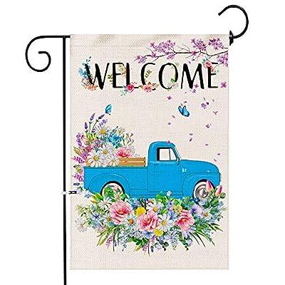 Hexagram Floral Truck Spring Garden Flag,Burlap...