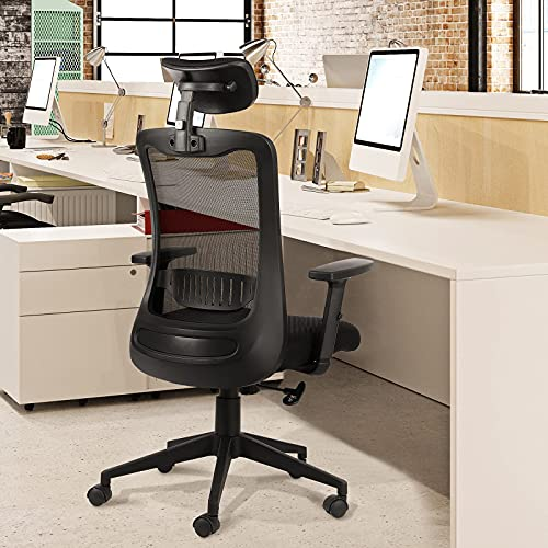 Bable Ergonomic Office Chair, High Back Desk Computer Chair with Adjustable Headrest and Armrest, Comfortable Swivel Mesh Chairs for Home Office, Black