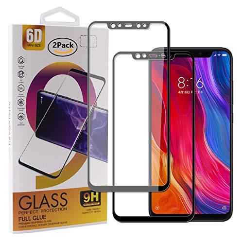 Guran [2 Paquete Protector de Pantalla para Xiaomi Mi 8 / Xiaomi Mi 8 Pro Smartphone Cobertura Completa Protección 9H Dureza Alta Definicion Vidrio Templado Película - Negro