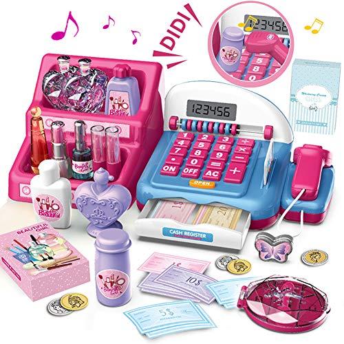 HERSITY 31 Stück Kasse Kinder Spielkasse Spielzeug mit Scanner Elektronische Registrierkasse Schminkset Mädchen Kinder Rollenspiel Geschenk 3 4 5 Jahren