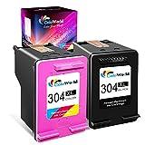 ColoWorld 304XL Remanufacturado Cartuchos de Tinta 304 XL Negro y Tricolor Compatible con HP Envy 5010 5020 5030 DeskJet 2620 2630 3720 3730 3750 3760 Impresoras, Pack de 2