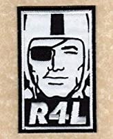"""????New! 4"""" Oakland Raiders Raider Nation 4 Life R4L 'Obey"""" Iron-on Jersey Patch!"""