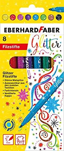 Eberhard Faber 551008 - Glitzer Filzstifte in 8 leuchtenden Farben, Minenstärke 3 mm, auswaschbar im Kartonetui, zum Verzieren, Zeichnen, Basteln und Schreiben
